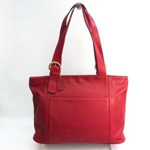 Auth Coach Old Coach Leather Tote Bag Dark Red